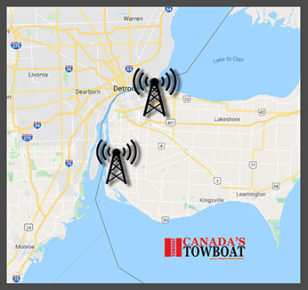 Radio tower locations for canada towboat.